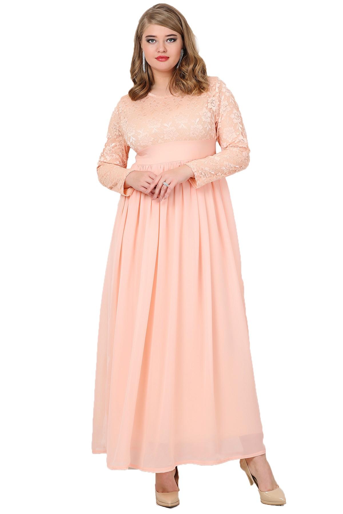 1577630f422ef Büyük Beden Tesettür Şifon Likralı Uzun Abiye Elbise KL4009T - OLASTORM