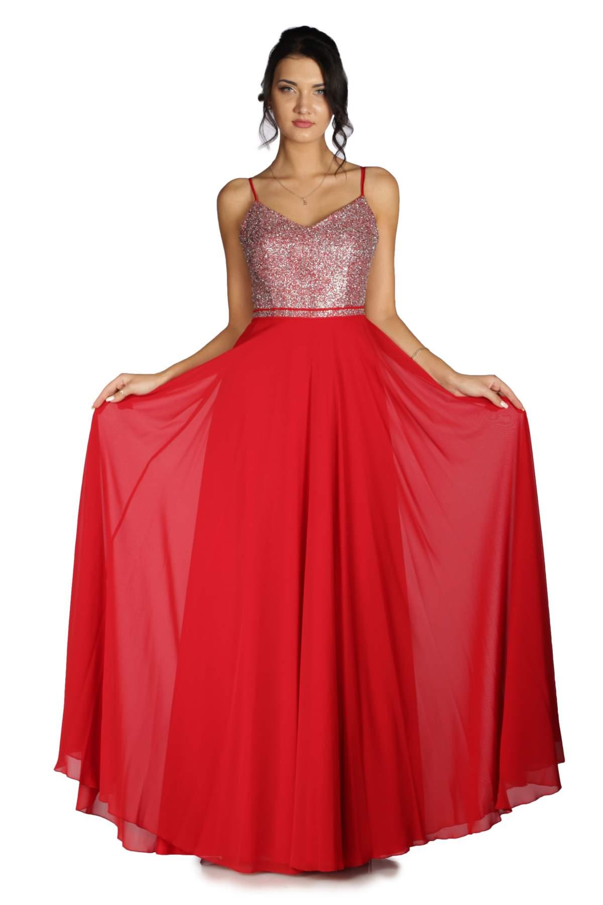 8c5c7d49d720f Pierre Cardin Kırmızı Üstü Simli Altı Şifon Uzun Abiye Elbise - OLASTORM